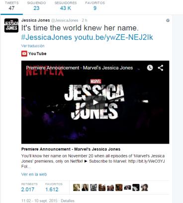 Jessica Jones twitter Hablemos de Series Netflix