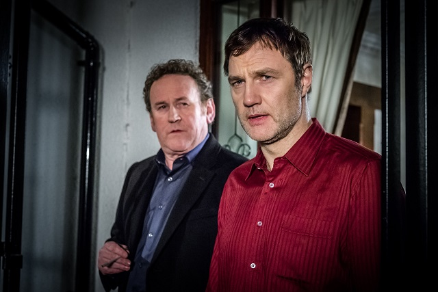 WARNING: Embargoed for publication until: 16/09/2014 - Programme Name: The Driver - TX: n/a - Episode: n/a (No. 1) - Picture Shows: L - R Horse (COLM MEANEY), Vince McKee (DAVID MORRISSEY) - (C) Red Productions - Photographer: Ben Blackall