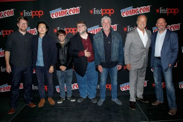 NEW YORK, NY - OCTOBER 08: (L-R) Rodrigo Blaas, Steven Yeun, Charlie Saxton, Guillermo del Toro, Ron Perlman, Kelsey Grammer and Marc Guggenheim pose for a photo backstage as Netflix presents Dreamworks Trollhunters during New York Comic Con at Madison Square Garden on October 8, 2016 in New York City. (Photo by Lars Niki/Getty Images for Netflix) *** Local Caption *** Rodrigo Blaas, Steven Yeun, Charlie Saxton, Guillermo del Toro, Ron Perlman, Kelsey Grammer, Marc Guggenheim