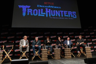 NEW YORK, NY - OCTOBER 08: (L-R) Kelsey Grammer, Ron Perlman, Charlie Saxton, Steven Yeun, Marc Guggenheim and Rodrigo Blaas speak onstage as Netflix presents Dreamworks Trollhunters during New York Comic Con at Madison Square Garden on October 8, 2016 in New York City. (Photo by Lars Niki/Getty Images for Netflix) *** Local Caption *** Kelsey Grammer;Ron Perlman;Charlie Saxton;Steven Yeun;Marc Guggenheim;Rodrigo Blaas