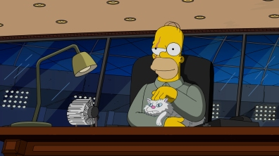 """THE SIMPSONS: In the midst of a major drought, Mr. Burns introduces a Hunger Games-style contest in which Springfield's children fight each other for a day in Burns' personal reservoir. Meanwhile, Lisa's imaginary best friend, Rachel, is jealous of Lisa's real best friends and starts killing them. Moe tells Bart that the barflies are actually covert agents and that he wants Bart join their team in Homer's place in the all-new """"Treehouse of Horror XXVII"""" episode airing Sunday, Oct. 16, (8:00-8:31 PM ET/PT)."""