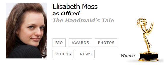 Elisabeth Moss Mejor Actriz Drama EMMYS 2017