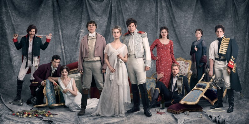 Picture Shows: Dolokhov (TOM BURKE), Anatole Kuragin (CALLUM TURNER), Helene Kuragin (TUPPENCE MIDDLETON), Pierre Bezukhov (PAUL DANO), Natasha Rostov (LILY JAMES), Prince Andrei (JAMES NORTON), Sonya (AISLING LOFTUS), Nikolai Rostov (JACK LOWDEN), Princess Marya (JESSIE BUCKLEY), Boris (ANEURIN BARNARD) - (C) BBC - Photographer: Mitch Jenkins