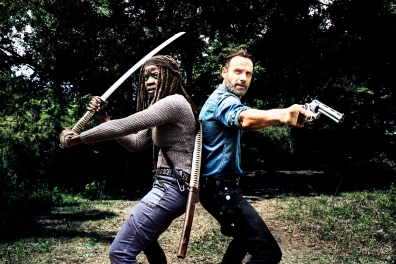 Andrew Lincoln as Rick Grimes, Danai Gurira as Michonne - The Walking Dead _ Season 8, Gallery - Photo Credit: Alan Clarke/AMC