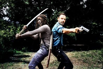 Andrew Lincoln as Rick Grimes, Danai Gurira as Michonne- The Walking Dead _ Season 8, Gallery - Photo Credit: Alan Clarke/AMC