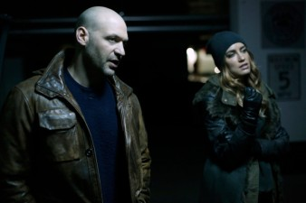 "THE STRAIN -- ""The Traitor"" - Season 4, Episode 9 (Airs September 10, 10:00 pm e/p) Pictured (l-r): Corey Stoll as Ephraim Goodweather, Ruta Gedmintas as Dutch Velares. CR: Marni Grossman/FX"