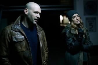 "THE STRAIN -- ""The Traitor"" - Season 4, Episode 9 (Airs September 10, 10:00 pm e/p) Pictured (l-r): Corey Stoll as Ephraim Goodweather, Ruta Gedmintas as Dutch Velares. CR: Marni Grossman/FX"