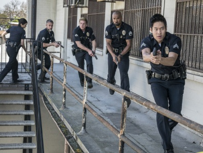 """S.W.A.T., a new drama inspired by the television series and the feature film, stars Shemar Moore (second from right) as a locally born and raised S.W.A.T. sergeant newly tasked to run a specialized tactical unit that is the last stop in law enforcement in Los Angeles. His elite unit includes Christina """"Chris"""" Alonso (Lina Esco, far left), David """"Deacon"""" Kay (Jay Harrington, second from left), Dominique Luca (Kenny Johnson, center) and Victor Tan (David Lim, far right). This fall, S.W.A.T. will be broadcast Thursdays (10:00-11:00 PM, ET/PT) beginning Nov. 2, after football concludes, on the CBS Television Network. Photo: Michael Yarish/CBS ©2017 CBS Broadcasting, Inc. All Rights Reserved"""
