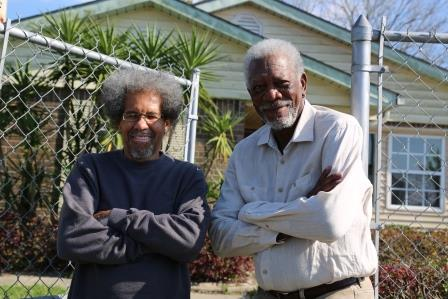 New Orleans, LA - Albert Woodbox with Morgan Freeman in front of Woodbox's home. (National Geographic/Maria Bohe)