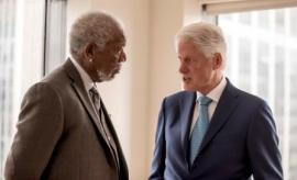 New York City - Host Morgan Freeman converses with President Bill Clinton as seen on National Geographic's The Story of Us with Morgan Freeman (National Geographic/Zach Dilgard)