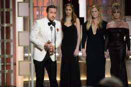 """Ryan Gosling accepts the Golden Globe Award for BEST PERFORMANCE BY AN ACTOR IN A MOTION PICTURE – COMEDY OR MUSICAL for his role in """"La La Land"""" at the 74th Annual Golden Globe Awards at the Beverly Hilton in Beverly Hills, CA on Sunday, January 8, 2017."""