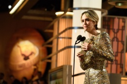 """Sarah Paulson accepts the Golden Globe Award for BEST PERFORMANCE BY AN ACTRESS IN A MINI-SERIES OR MOTION PICTURE MADE FOR TELEVISION for her role in """"The People v. O.J. Simpson: American Crime Story"""" at the 74th Annual Golden Globe Awards at the Beverly Hilton in Beverly Hills, CA on Sunday, January 8, 2017."""