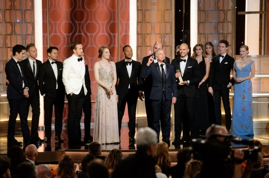 """Accepting the Golden Globe for BEST MOTION PICTURE – COMEDY OR MUSICAL for """"La La Land"""" is Marc Platt accompanied with cast and crew at the 74th Annual Golden Globe Awards at the Beverly Hilton in Beverly Hills, CA on Sunday, January 8, 2017."""