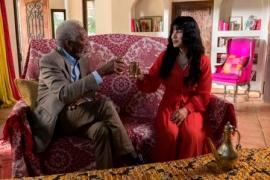 Los Angeles - Host Morgan Freeman meets with Victoria Khan, a transgender Afghani woman, who discusses her harrowing tale of escaping slavery in an emerald mine and her journey to personal freedom in the U.S.A. (National Geographic/Justin Lubin)