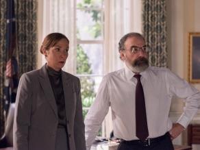 Elizabeth Marvel as Elizabeth Keane and Mandy Patinkin as Saul Berenson in HOMELAND (Season 7, Episode 02). - Photo: Antony Platt/SHOWTIME - Photo ID: HOMELAND_702_2863.R