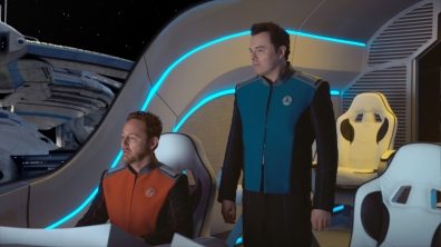 "THE ORVILLE: L-R: Scott Grimes and Seth MacFarlane in the new space adventure series from the creator of ""Family Guy."" The first part of the special two-part series premiere of THE ORVILLE will air Sunday, Sept. 10 (8:00-9:00 PM ET/PT), immediately following the NFL ON FOX Doubleheader. ©2017 Fox Broadcasting Co. Cr: FOX"