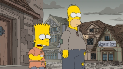 """THE SIMPSONS: In a magical medieval world, Marge's mother is turned into an Ice Walker and the only way for Homer to afford the cure is to force Lisa to use illegal magic. When the King discovers this, he kidnaps Lisa and Homer must lead a feudal uprising to save her in """" THE SERFONS"""" series premiere episode of THE SIMPSONS airing Sunday, Oct. 1 (8:00-8:30 PM ET/PT) on FOX. THE SIMPSONS ™ and © 2016 TCFFC ALL RIGHTS RESERVED. CR: FOX."""