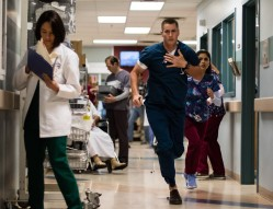 """THE NIGHT SHIFT -- """"Control"""" Episode 404 -- Pictured: (l-r) Brendan Fehr as Drew Alister, Alma Sisneros as Nurse Jocelyn -- (Photo by: Cathy Kanavy/NBC/Sony Pictures Television)"""